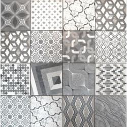 Carrelage imitation ciment style ancien 18x18 cm EUROPE MIX GRIS - 0.97m²
