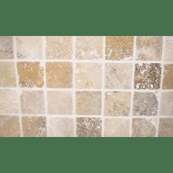 Carrelage pierre Travertin TR TAS SCABOS beige noce 1er choix 10x10 cm - 0.5m²