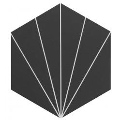 Carreau tomette noir dandelion 33x28.5 VENUS Black - 1m²