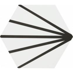 Tomette blanche à rayure noire motif dandelion MERAKI LINE NEGRO 19.8x22.8 cm - 0.84m²