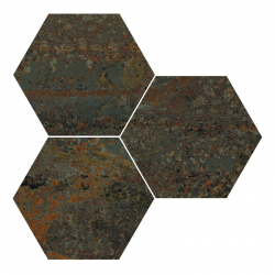 Carrelage hexagonal effet industriel RUST GREEN NAT 25x30 cm - R10 - 0.935m²