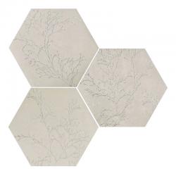 Carrelage hexagonal floral décor brillant OZONE IVORY DECOR 25x29 cm - R10 - 0.935m²