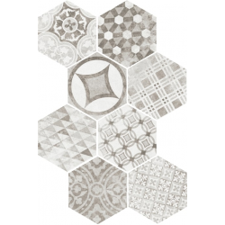 Carrelage tomette décoré 17.5x20 - HEXATILE GARDEN GREY - 22099 R10 - 0.71m²