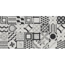 Carrelage imitation terrazzo décoré 21.6x21.6cm DECORI BLACK & WHITE  - 1.31m²