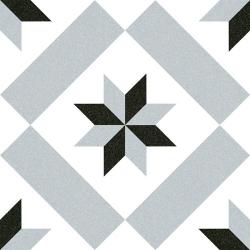 Carrelage imitation ciment étoile grise et noire 20x20 cm CALVET - 1m²