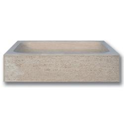 Évier 1 bac travertin beige face bouchardée bords droits 70x46x18 cm