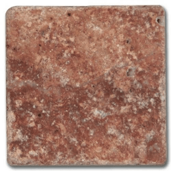 Carrelage pierre Travertin vieilli rouge 10x10 cm - 0.5m²