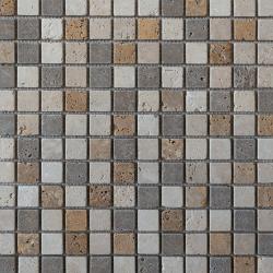 Mosaïque en pierre Travertin Mix 2.5x2.5 cm - 1m²
