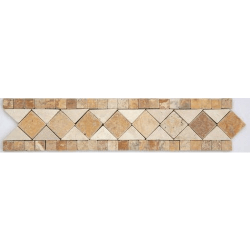 Frise pierre Travertin Jaune / Travertin Beige GM104 33.3x7 cm - unité
