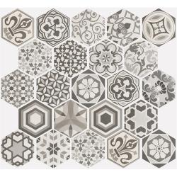 Carrelage hexagonal 17.5x20 Tomette Harmony B&W - R9 - 0.71m²