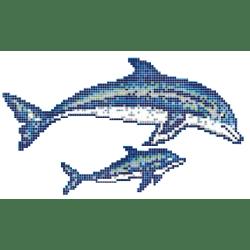 Décor couple de dauphins mosaique piscine 300x166 cm - unité Onix