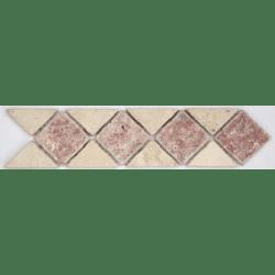 Frise pierre 512 Travertin Beige - Travertin Rouge 28.5x7 cm - unité