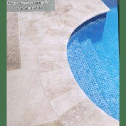 SET bain romain Margelles courbes rayon 150cm travertin beige veilli