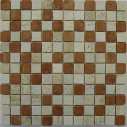 Mosaique marbre creme rosso 2.3x2.3 cm - unité Barwolf