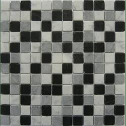 Mosaique marbre noir gris blanc 2.3x2.3 cm - unité Barwolf