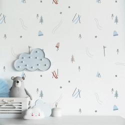 Papier peint design auto adhésif enfance A DAY IN THE SNOW 65x110cm - vendu par 2 lés