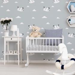 Papier peint design auto adhésif enfance WHITE BIRD IN BLUE 65x110cm - vendu par 2 lés