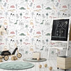Papier peint design auto adhésif enfance DINOSAURS 65x110cm - vendu par 2 lés