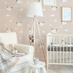 Papier peint design auto adhésif enfance WHITE BIRD IN ROSE 65x260cm - vendu par 2 lés