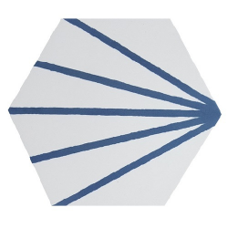 Tomette blanche à rayure bleu motif dandelion MERAKI LINE AZUL 19.8x22.8 cm - 0.84m² Bestile