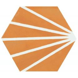 Tomette orange motif dandelion MERAKI MOSTAZA 19.8x22.8 cm - 0.84m²