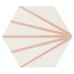 Tomette blanche à rayure rose motif dandelion MERAKI LINE ROSA 19.8x22.8 cm - 0.84m²