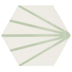 Tomette blanche à rayure verte motif dandelion MERAKI LINE VERDE 19.8x22.8 cm - 0.84m²