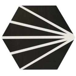 Tomette noir motif dandelion MERAKI NEGRO 19.8x22.8 cm - 0.84m²