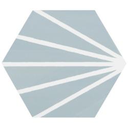 Tomette bleue clair motif dandelion MERAKI AGUAMARINA 19.8x22.8 cm - 0.84m²