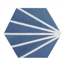 Tomette bleue motif dandelion MERAKI AZUL 19.8x22.8 cm - 0.84m² Bestile