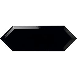 Faience navette biseautée noire brillant 10x30 PICKET BEVELED COAL - 1m²