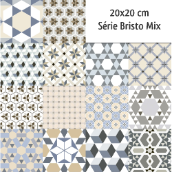 Carrelage imitation ciment mix 20x20 cm BRISTO - 1m² Ribesalbes