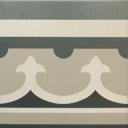 Carrelage imitation ciment rosace 20x20 cm CAPRICE CHATELET Bordure- 1m² Equipe