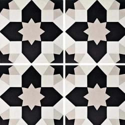 Carreau de ciment géométrique gris et noir 20x20 cm ref7590-1 - 0.48m²