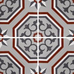 Carreau de ciment véritable motif floral arabesque 20x20 cm ref7340-2 - 0.48m²