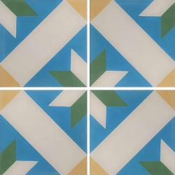 Carreau de ciment décor géométrique bleu vert jaune 20x20 cm ref1150-3 - 0.48m²