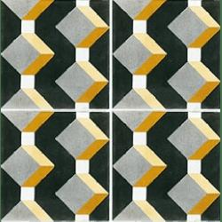 Carreau de ciment cube jaune gris noir géométrique 20x20 cm ref1170-1 - 0.48m²