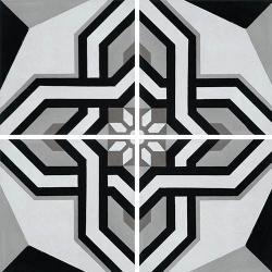 Carreau de ciment décor étoile noire 20x20 cm ref1200-1 - 0.48m²