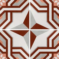 Carreau de ciment décor étoile rouge 20x20 cm ref1200-2 - 0.48m²