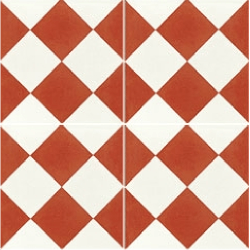 Carreau de ciment damier rouge et blanc 20x20 cm ref310-2 - 0.48m²