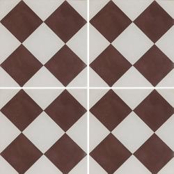Carreau de ciment damier marron et blanc 20x20 cm ref360-1 - 0.48m²