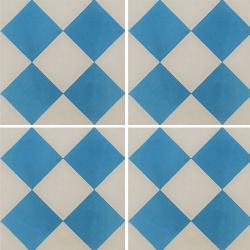 Carreau de ciment damier bleu et blanc 20x20 cm ref380-1 - 0.48m²