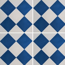 Carreau de ciment damier bleu foncé et blanc 20x20 cm ref380-2 - 0.48m²
