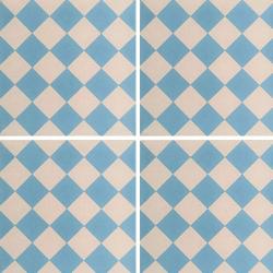 Carreau de ciment damier bleu clair et blanc 20x20 cm ref460-1 - 0.48m²