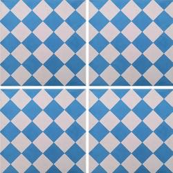 Carreau de ciment damier bleu et blanc 20x20 cm ref460-2 - 0.48m²