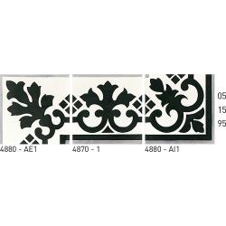Carreau de ciment frise noir et blanc 20x20 cm ref4880 - Unité