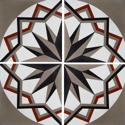 Carreau de ciment décor étoile anthracite noir 20x20 cm ref7010-2 - 0.48m²
