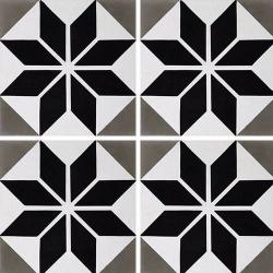 Carreau de ciment décor étoile noire 20x20 cm ref7070-2 - 0.48m²