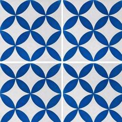 Carreau de ciment véritable Quatre-feuilles bleu 20x20 cm ref7180-2 - 0.48m²