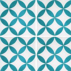 Carreau de ciment véritable Quatre-feuilles bleu turquoise 20x20 cm ref7180-6 - 0.48m²